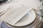place setting and Herban Feast menu | Lavish Greek Wedding by Pravda Events | Photography by Barbie Hull